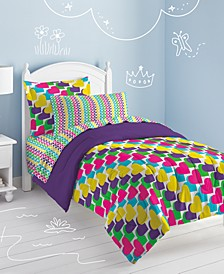 Rainbow Hearts Full Comforter Set