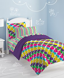 Dream Factory Rainbow Hearts Full Comforter Set