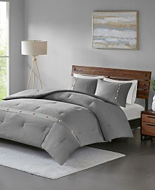 Madison Park Finley King/California King 3 Piece Cotton Waffle Weave Comforter Set