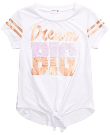 Beautees Big Girls Tie-Front Flip Sequin T-Shirt