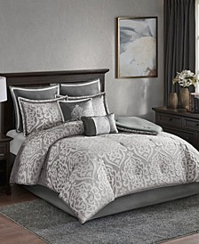 Odette California King 8 Piece Jacquard Comforter Set