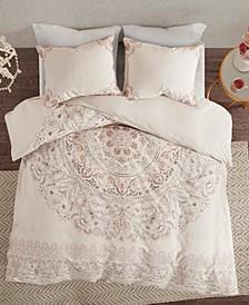 Madison Park Elise Full/Queen 3 Piece Cotton Printed Reversible Duvet Cover Set