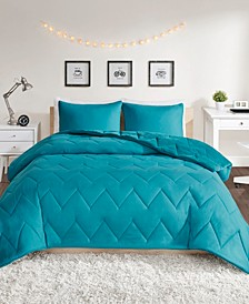 Kai King Solid Chevron Quilted Reversible Microfiber to Cozy Plush 3 Piece Comforter Mini Set