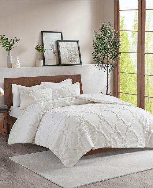 JLA Home Madison Park Pacey King/California King 3 Piece Cotton Chenille Geometric Comforter Set