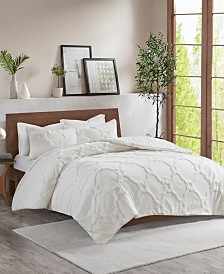 Madison Park Pacey Full/Queen 3 Piece Cotton Chenille Geometric Duvet Cover Set