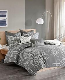 Urban Habitat Manhattan Full/Queen Reversible 7 Piece Printed Cotton Duvet Cover Set
