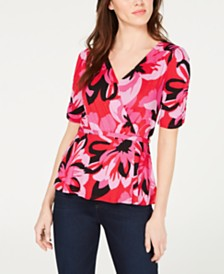 John Paul Richard Petite Floral-Print Wrap Top