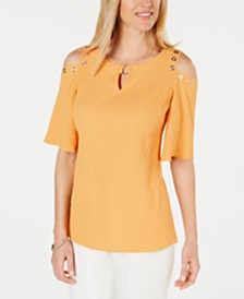 JM Collection Textured Cold-Shoulder Blouse, Created for Macy's