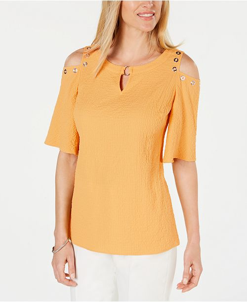 JM Collection Crinkle Texture Cold-Shoulder Blouse, Created for Macy's