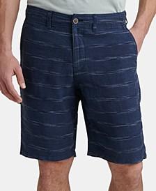 Men's Regular-Fit Stripe Linen Shorts