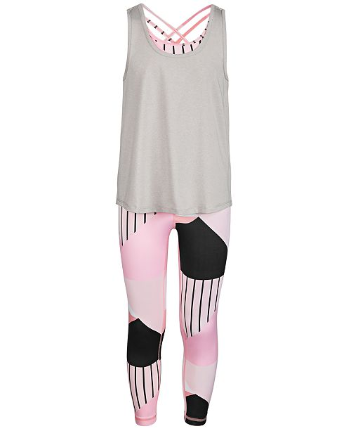 Ideology Big Girls Layered-Look Tank Top & Colorblocked Leggings, Created for Macy's