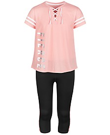 Ideology Big Girls Lace-Up T-Shirt & Capri Leggings, Created for Macy's