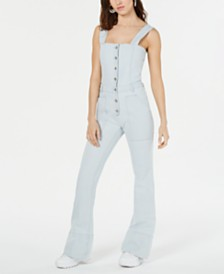 Kendall + Kylie Cotton Denim Flare-Leg Jumpsuit
