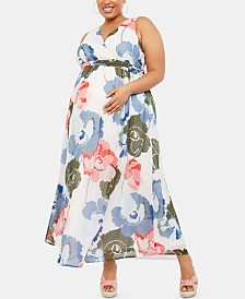 Motherhood Maternity Plus Size Printed Wrap Dress