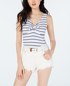 Ultra Flirt Juniors' Tie-Front Rib-Knit Tank Top