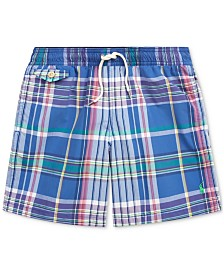 Polo Ralph Lauren Big Boys Plaid Swim Trunks