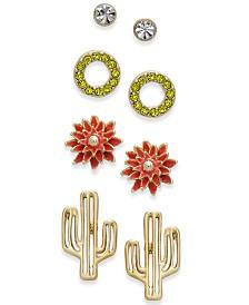 I.N.C. Gold-Tone 4-Pc. Set Desert-Inspired Stud Earrings, Created for Macy's