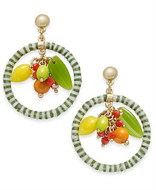 I.N.C. Gold-Tone Multi-Bead and Fruit Circle Drop Earrings, Created for Macy's