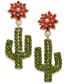 I.N.C. Gold-Tone Pavé Cactus Drop Earrings, Created for Macy's