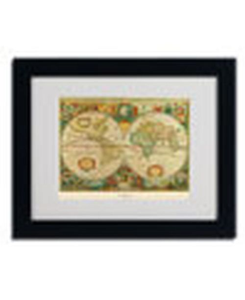 "Trademark Global 'Old World Map Painting' Matted Framed Art - 14"" x 11"" x 0.5"""