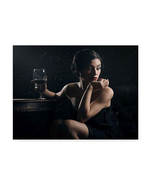 "Trademark Global Constantin Shestopalov 'Woman With Wine Glass' Canvas Art - 32"" x 24"" x 2"""