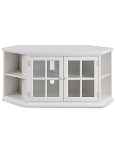 "Leick Home Riley Holliday Cottage White 56"" Corner TV Console with Bookcase/Display"