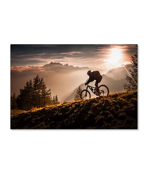 "Trademark Global Sandi Bertoncelj 'Golden Hour Biking' Canvas Art - 24"" x 16"" x 2"""