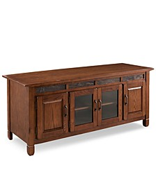 "Home Rustic Oak 60"" TV Console with Slate Tiles"