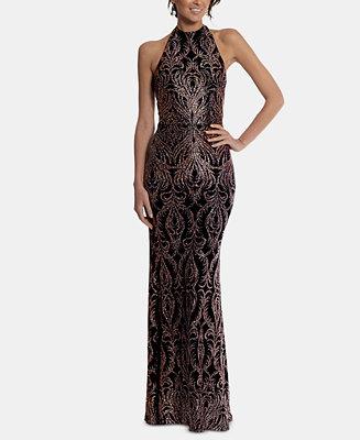 481deab69fc Betsy   Adam Halter Glitter Gown   Reviews - Dresses - Women - Macy s