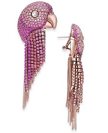 kate spade new york Rose Gold-Tone Crystal Parrot Fringe Drop Earrings