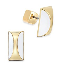 Gold-Tone Curved Stone Stud Earrings