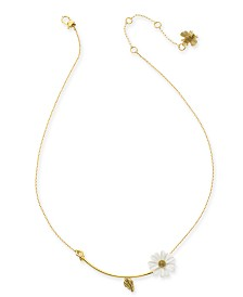 "kate spade new york Gold-Tone White Flower Pendant Necklace, 16"" + 3"" extender"