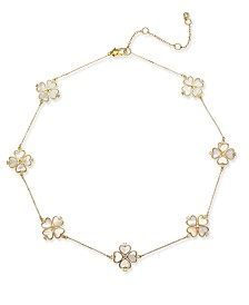 """kate spade new york Gold-Tone Sterling Silver Pavé & Imitation Mother-of-Pearl Flower Collar Necklace, 16"""" + 3"""" extender"""