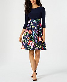 Solid & Printed Fit & Flare Dress