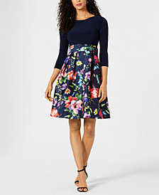 Jessica Howard Solid & Printed Fit & Flare Dress