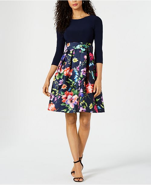 273c915f4a32 Jessica Howard Solid & Printed Fit & Flare Dress & Reviews - Dresses ...