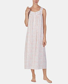 Lace-Trim Printed Ballet-Length Nightgown