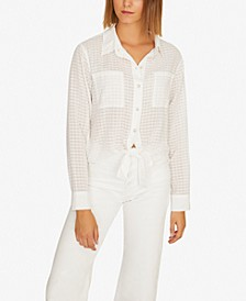 Resort Solid Tie-Front Button-Up Top