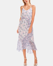 Vince Camuto Floral-Print Ruffled-Hem Dress