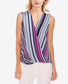 Vince Camuto Surplice-Neck Striped Top