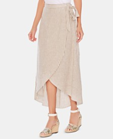Vince Camuto Striped High-Low Wrap Skirt