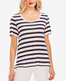 Vince Camuto Striped Scoop-Neck Top