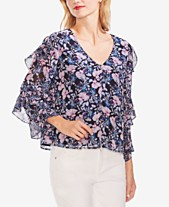 99bd0ae6f3db8a Vince Camuto Tiered Ruffle-Sleeve Top