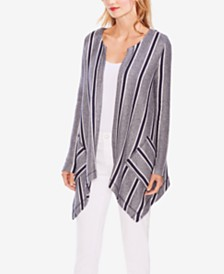 Vince Camuto Asymmetrical Striped Cardigan