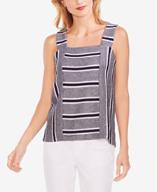Vince Camuto Striped Square-Neck Top