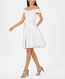 Twisted Off-The-Shoulder A-Line Dress