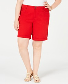 Charter Club Plus Size Cuffed Tummy-Control Shorts, Created for Macy's