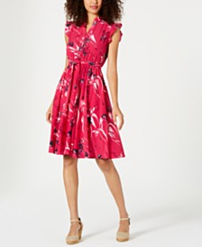 Charter Club Printed Ruffle-Sleeve Shirtdress, Created for Macy's
