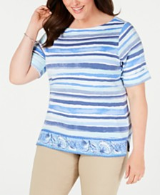Karen Scott Plus Size Printed Cuffed-Sleeve Top, Created for Macy's