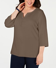 Karen Scott Plus Size Cotton Split-Neck Top, Created for Macy's